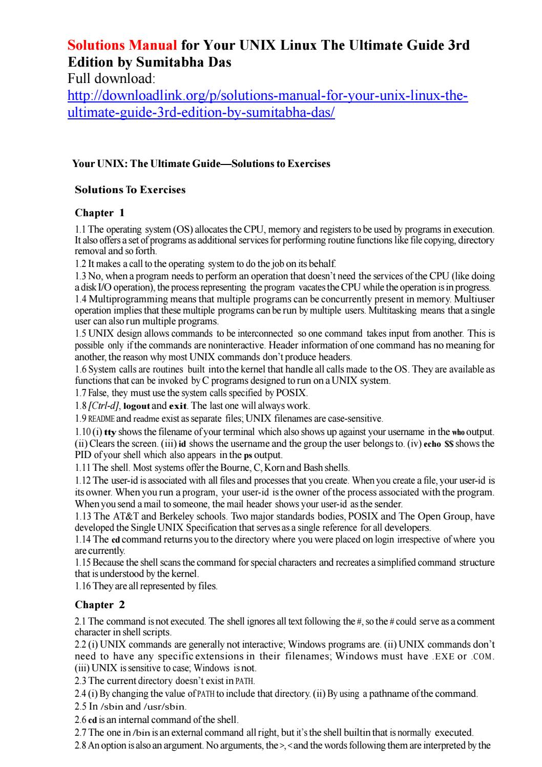 Your unix linux the ultimate guide solutions ch 13
