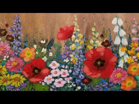 instructions on painting flowers with acrylics