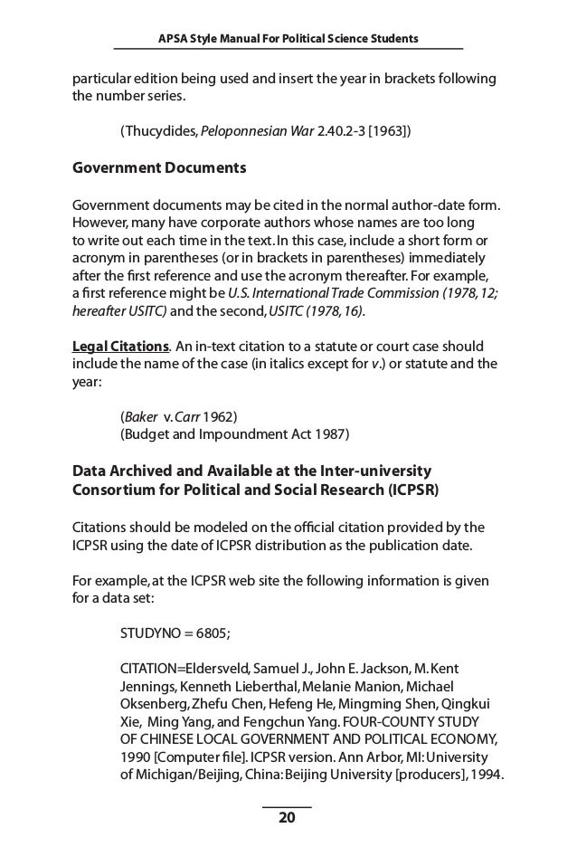 Apsa style manual for political science